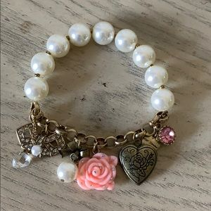 Betsey Johnson Pearl Bracelet with Real Locket